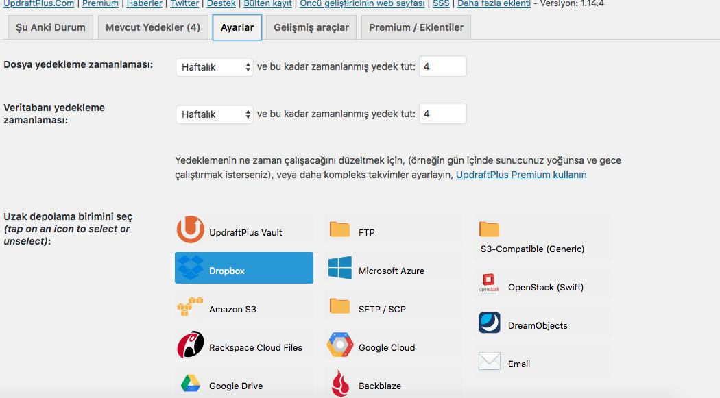 Wordpress Updraftplus gelişmiş özellikler