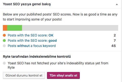Wordpress Yoast SEO site seo durumunu gösteren ekranı